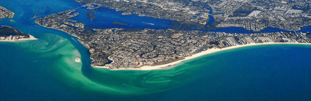 Bird's eye view of Siesta Key in Sarasota, Florida